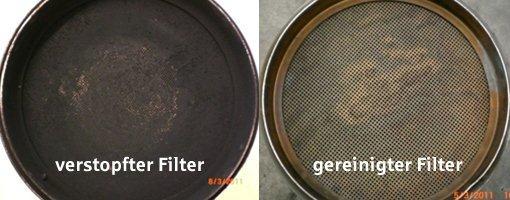 Unterschied verstopfter und gereinigter Dieselpartikelfilter